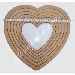 Ξύλινα Τελάρα Καρδιά 16εκ εως 30εκ Σετ 6τεμ