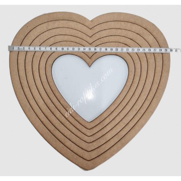 Ξύλινα Τελάρα Καρδιά Σετ 16εκ εως 30εκ